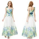 Stunning One Shoulder Ruched Floral Print Long Party Dress 08032