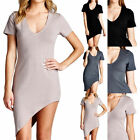 Solid Stretchable Bodycon Dress Scoop Neck Short Sleeve Asymmetrical Hem S M L