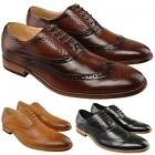 Mens New Tan Brown Leather Lined Smart Fashion Brogues Shoe UK 6 - 12