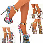 Ladies Gold Ankle Strap Shoes Floral Abstract Platform High Heels Pumps Size