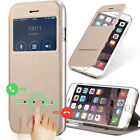 Smart Sensor Leather Case For iPhone/Samsung Front View Window Flip Stand Cover