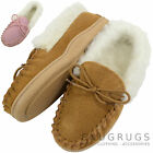 Childrens / Kids Wool Lined Moccasins with Suede Upper and Wool Lined Cuff