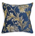 We104a Blue Gold Damask Flower Chenille Throw Pillow Case Cushion Cover*Size