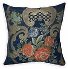 We504a Blue Damask Orange Rose Chenille Throw Pillow Case/Cushion Cover*Size
