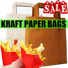 BROWN & WHITE KRAFT FSC PAPER SOS FOOD CARRIER BAGS WITH HANDLES PARTY TAKEAWAY
