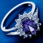 White Gold Filled Women Oval Cubic Zircon  Ladies Wedding Jewelry Rings  image