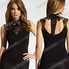Sexy Women's Black Sleeveless Vest Embroidery Lace Tops Chiffon Sexy Blouse W2