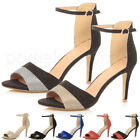 WOMENS LADIES MID HIGH HEEL CONTRAST TWO TONE ANKLE CUFF SANDALS PEEP TOE SHOES