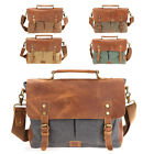 Mens Canvas Leather Messenger Bags 14 In Laptop Briefcase Shoulder Bags Bookbag