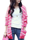 Ladies Deep V Neck Stripes Pattern Two Tone Color Block Cardigan