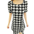 Women Round Neck Short Sleeve Houndstooth Pattern Slim Fit Dress