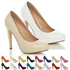 WOMENS LADIES PLATFORM HIGH HEEL WEDDING BRIDESMAID EVENING COURT SHOES PUMPS