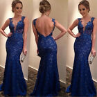 New Womens Sexy Backless Maxi Lace Deep V-Neck Long Cocktail Party Evening Dress