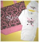 PERSONALIZED Damask Baby Girl Diaper TOTE BAG CREEPER T Shirt & HAT Gift Set