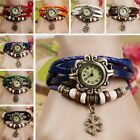 Women Lady Retro Weave Quartz Movement Leather Bracelet Wrist Watch Girls Gift