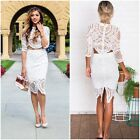 New Graceful Lace Hook Women's Pullover Cropped Top +Midi Skirts Cocktail Dress
