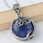 1pc Round Half Ball Silvery Dragon Wrap Bail Pendant Gemstone Fashion Jewelry