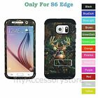 Samsung Galaxy S6 EDGE Deer Hunting Camo RKR Hard&Rubber Rugged Armor Case Cover
