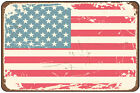 Rugged American Flag Nostalgic Metal Sign