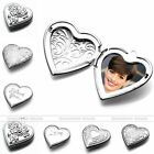 1X Carved Flower Heart Love Photo Picture Frame Locket Pendant DIY Necklace Gift