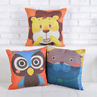 """Lovely Cartoon Animal Lion Owl Seals Cushion Cover Pillow Case Square 18"""" Linen"""