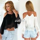 Sexy Women Lace Off Shoulder Shirt Summer Casual Boho Lace Crop Tank Tops Blouse