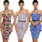 Strapless Pencil Dress Side Zip Backless Floral Dresses Belt Women Party Tops