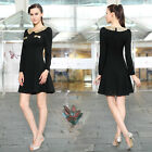 Women's Black Long Sleeve Sequined Collar Fashion Short Casual Dress 03822
