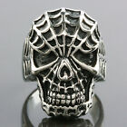 316L Silver Stainless Steel Spider Man Skull Head Punk Band Biker Finger Rings