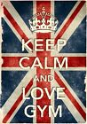 KCV46 Vintage Style Union Jack Keep Calm Love Gym Funny Poster Print A2/A3/A4