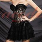 Sexy Leopard Print Corsets Dress Top Basques TUTU Sets Costumes Lingerie S-2XL