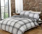 Harper Check Natural Single Double King Duvet Cover & Pillowcase Set New Bedding