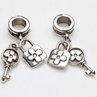 10/20Pcs Tibetan Silver Love Ring Key Lock Charm Pendant 25*8mm Jewelry Findings