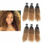 US Delivey 16''/18''/20''Curly 1/2/3Bundles Brazilian Human Hair Weft Extensions