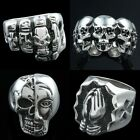 Women Man's Buddhism Zen Six Truest Words Tibet/Skull Finger Ring Jewelry US9-13