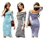 Sexy Shealth Stripes Off-the-shoulder 3/4 Sleeves Slim Bodycon Over-knee Dress