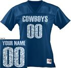 CUSTOM Women's COWBOYS Football Jersey Personalized GLITTER Name Number Dallas