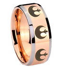 Tungsten 8_Star Wars Rose Gold IP Beveled Silver Edge Ring Full Size