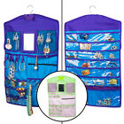 Hanging Jewelry Organizer Double Sided Storage Pockets Zipper Hook Mirror Velcro