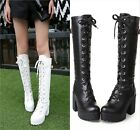 NEW US4-11 Womens Knight boots cosplay shoes Lace up Chunky Heel Knee high boots