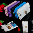 Luxury Bling Crystal Diamond Flip Wallet Leather Case Cover For iPhone 5 6 Plus