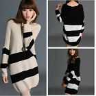 Women Loose Knitted Pullover Jumper Sweater V Neck Long Sleeve Striped Knitwear