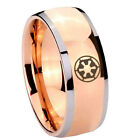 Tungsten Galactic Empire Bumper Rose Gold IP Glossy Dome 2 Tone Ring Full Size