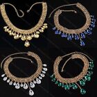 1x Retro Gold Tone Chain Statement Necklace Teardrop Crystal Glass Pendant