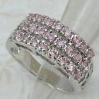 Size 5.5 6.5 Great Nice Pink Multi CZ Gems Jewelry Gold Filled Woman Ring K1202