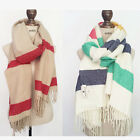 Women Cozy Warm Colorful Striped Scarf Long Soft Tassel Scarves Wrap Shawl Cape