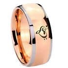 Tungsten Heart Music Rose Gold IP Glossy Dome 2 Tone Ring Full Size