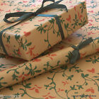 *Christmas Holly* Patterned Kraft Brown Wrapping Paper 5 or 10 metres