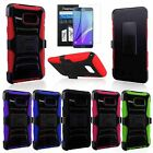 RUGGED ARMORED HYBRID CASE COVER CLIP HOLSTER FOR SAMSUNG GALAXY NOTE 5+FILM