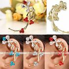 1x Golden Crystal Glass Flower Clip-on Wrap Cartilage Left Ear Cuff Earring Gift